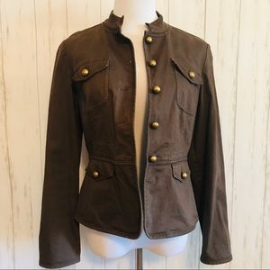 Talbots Brown Stretch Button Front Jacket Size 8